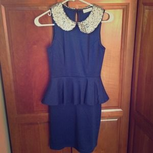 Reserved for @star5908: Sequin Collar Peplum Dress