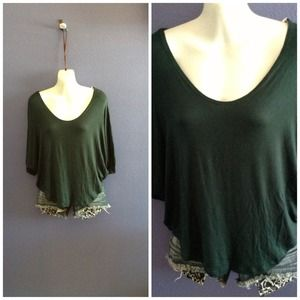 Loose forest green top