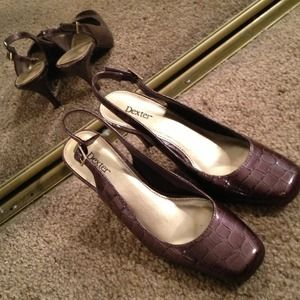 Plum heels With faux snakeskin