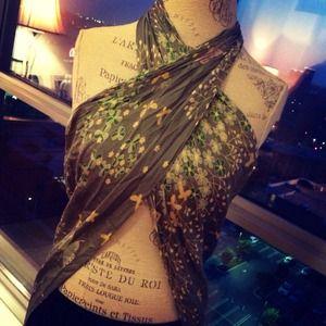 100% Silk Floral Wrap