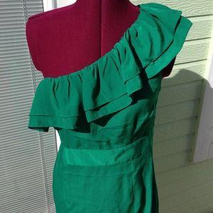 Emerald green asymmetrical dress