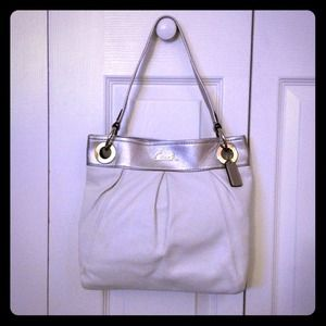 Coach white leather purse w/silver straps