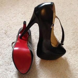Shoes - Black Platform Mary Jane Heels