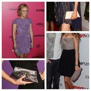 Lauren Merkin Handbags - Lauren Merkin Taupe & Silver Eve Clutch