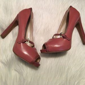 Nine West Heels, Pink, Snake Skin Accents - Sz 6.5