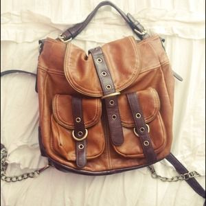 Stylish brown faux leather backpack/handbag
