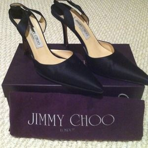 Jimmy Choo black satin sling backs