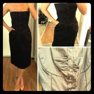 Black Pinstripe Strapless dress -Vintage look