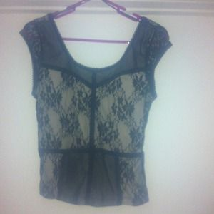 Lace black and nude top