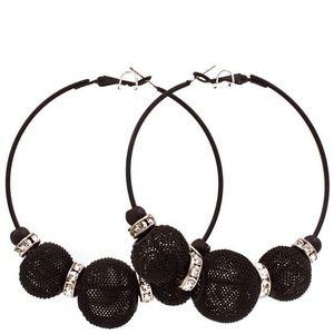 Jewelry - Black mesh hoops medium size.