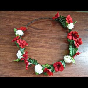 Red and White Flower Headdress
