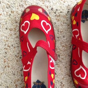 Shoes - Red shoes with hearts/ flats
