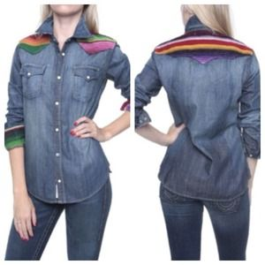 True religion Georgia Baja western denim shirt XS