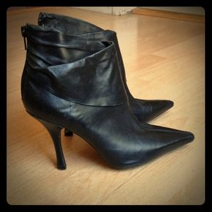 BCBG Black Leather Stiletto Booties