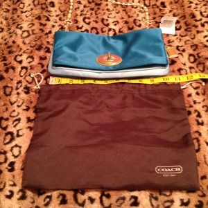 🚨REDUCED🚨NWT Coach satin teal color fold over