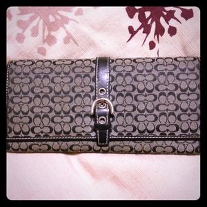 Authentic used large Coach wallet