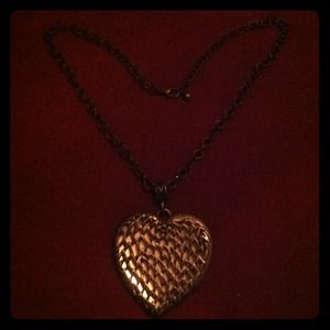Jewelry - Large heart necklace. Vintage style. Long chain.