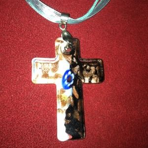 Jewelry - Glass cross on lace and string. New.