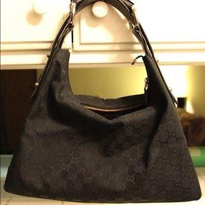 cb3f049b1 Gucci Bags | Authentic Black Canvas Hobo | Poshmark