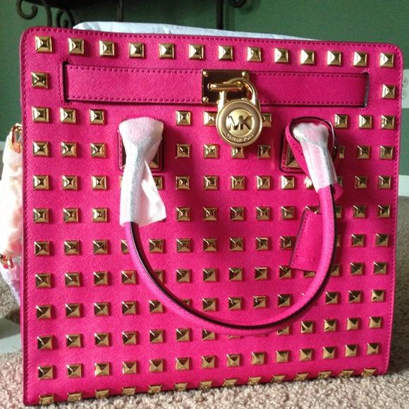 385ec78a6136 ✨My New Bag Micheal Kors Pink Hamilton Studded bag