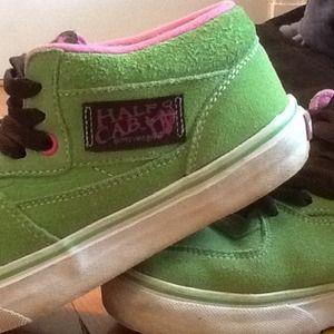 dd16945e40eb52 Vans Shoes - Vans Half Cab Pink and Green Mid Tops