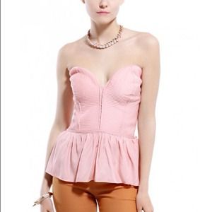 Tops - Strapless Pink Peplum Top.