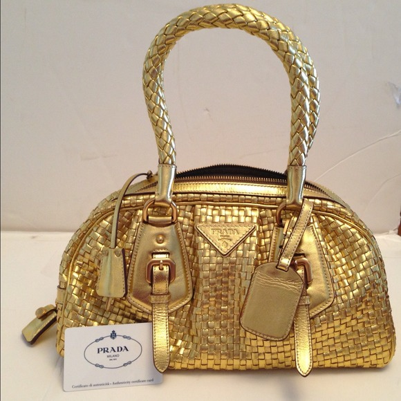 e95d2bb3b9 ... low price prada gold woven leather bowler bag c6240 ef81a