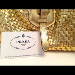 aefc55d5ef84 Prada Bags - Prada Gold Woven Leather Bowler Bag