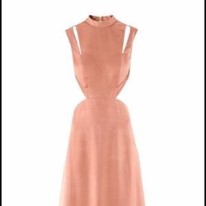 Rose gold long gown.