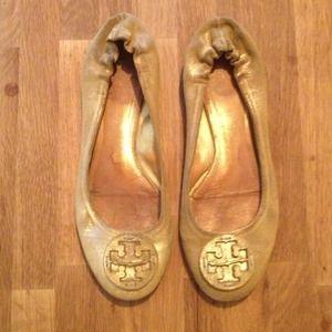 Gold Tory Burch Ballet Flats