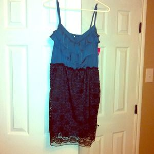 CUTE Dress! NWT. Teal Top w/ Black Lace bottom.