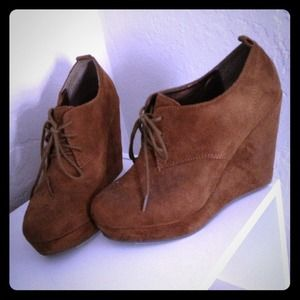 Suede Brown Wedge Booties