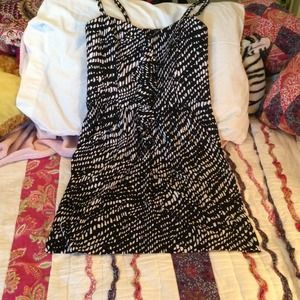 Knee Length Black and White Dress with Ruffles