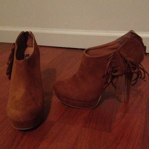 NWOT Tan suede booties