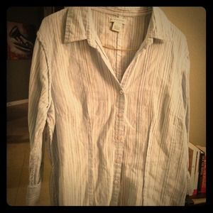 Blue Vertical striped 1/4 sleeve button down
