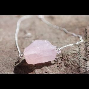 Jewelry - Raw rose quartz and pink tourmaline necklace