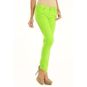 neon green skinny jeans - Jean Yu Beauty