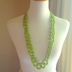 BaubleBar Lime Green Crayola Links Chunky Necklace
