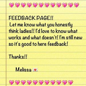 FEEDBACK LADIES!!!