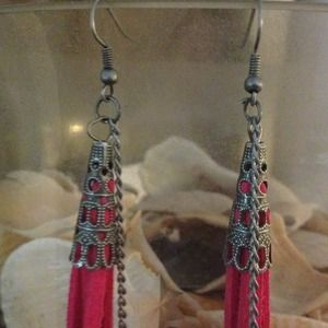 Jewelry - Long Boho Feather Tassel Earrings