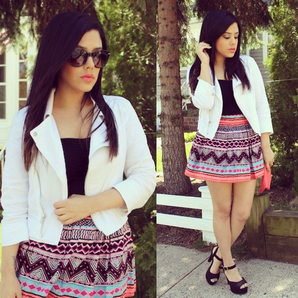 📍RESERVED Neon aztec print skirt