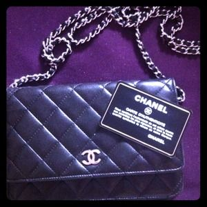 Chanel wallet on a chain in black