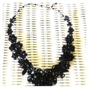Black beaded flower necklace