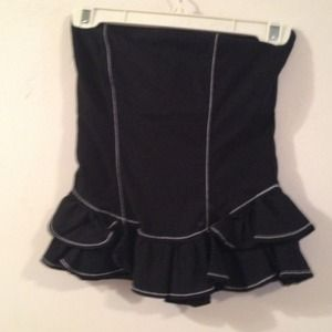Black ruffled corset/tube top Bebe XS