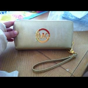 Gold double zipper wallet