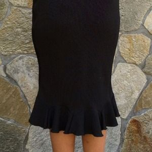 854f535d6 Skirts   Reduced Pencil Skirt Black Print Ruffle   Poshmark