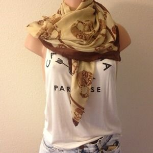 Accessories - Neutral Floral Skull Scarf