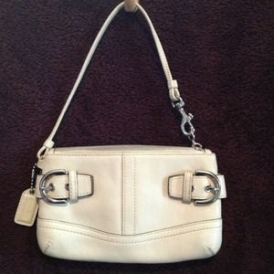 Ivory Leather Coach Clutch