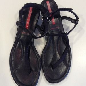 Authentic Prada Black Sandals, Size 38 1/2