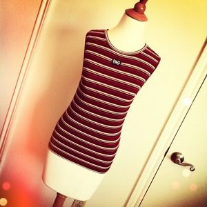Dolce & Gabbana Black White Red Striped Tank
